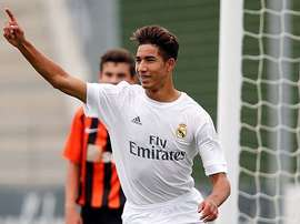 Achraf Hakimi, celebrando un gol con las categorías inferiores del Real Madrid. RealMadrid