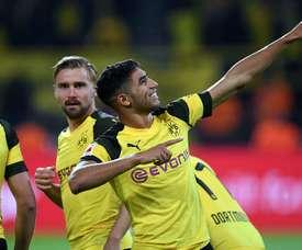 Achraf Hakimi after scoring for Dortmund. AFP