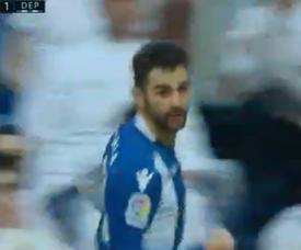 Adrián nos festejos do gol que marcou ao Real Madrid. Twitter