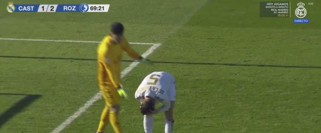 El Castilla no pasó del empate en Valdebebas. Captura/RealMadridTV