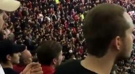 Así celebraron el último gol los aficionados del Bristol City. Captura/Twitter