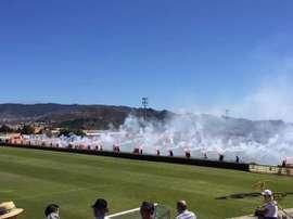 Aficionados del Tenerife B durante los momentos previos a un partido. Twitter