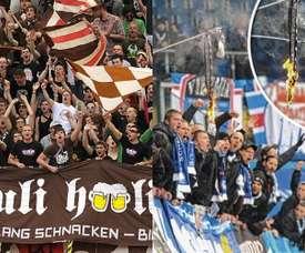 Aficiones de Sankt Pauli, izquierda, y Hansa Rostock, derecha, durante un partido.