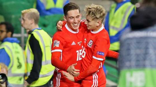 Harry Wilson scores for Wales against Ireland. AFP