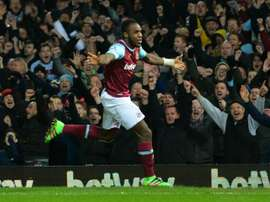 West Ham Uniteds midfielder Michail Antonio celebrates scoring the opening goal during the English Premier League match against Aston Villa in Upton Park, on February 2, 2016