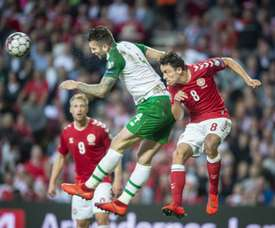 Shane Duffy scored late for the Republic of Ireland. AFP