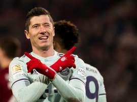 Lewandowski scored his 10th goal of the season against Hannover. AFP
