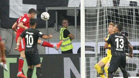 Robert Lewandowski scored a hat-trick in the DFL Supercup. AFP