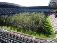 Klagenfurt's stadium has been become for a forest for nearly two months. AFP