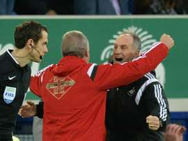Francesco Guidolin (right) celebrates with Swanseas first team coach Alan Curtis at the final whistle against Everton at Goodison Park on January 24, 2016