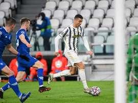 Cristiano Ronaldo (C) scored his 750th career goal against Dynamo Kiev. AFP