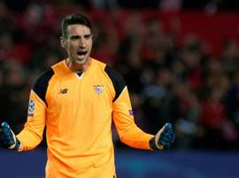 Sergio Rico has extended his contract to 2021. AFP