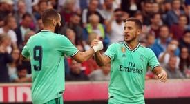 Zidane podrá contar con su tridente cuando LaLiga regrese. AFP