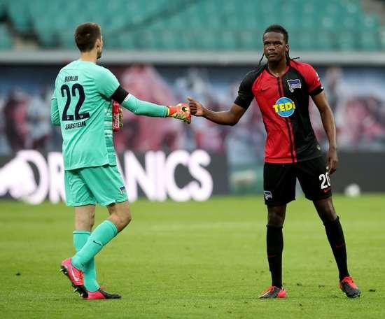 El Hertha logró empatar a dos con el RB Leipzig. AFP