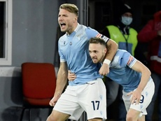 On target: Lazios Ciro Immobile celebrates with Manuel Lazzari. AFP