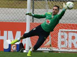 Brazilian Olympic football team goalie Fernando Prass, pictured on July 22, 2016, is ruled out of the countrys campaign at the Rio Games after injuring an elbow during a training session