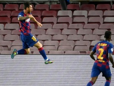 Lionel Messi helped Barca book a last eight spot v Napoli. AFP