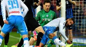 La derrota del Nápoles, en casa, ante el Atalanta, ha sido sencillamente impredecible. AFP
