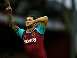 West Ham Uniteds striker Mauro Zarate, pictured on November 29, 2015, has joined Serie A club Fiorentina from West Ham, the Premier League side announced