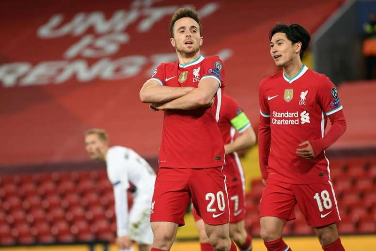 Liverpool forward Diogo Jota celebrates after his goal against Midtjylland at Anfield. AFP