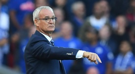 Ranieri gives his side instructions on the touchline. AFP