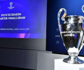 La UEFA sorteó los emparejamientos en Nyon. AFP