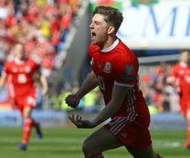 Daniel James after scoring the crucial goal for Wales. AFP