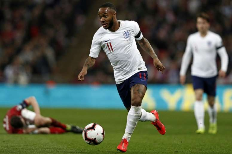 Sterling scored his first England hat-trick against Czechs. AFP