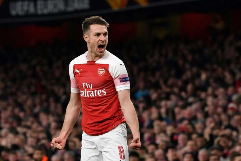 Outbound midfielder Aaron Ramsey opened the scoring in the first-leg. AFP.