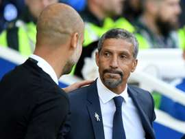 Hughton's side earned their first Premier League win thanks to a double from Gross. AFP