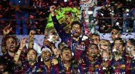 El Barça ganó su segundo triplete en 2015. AFP