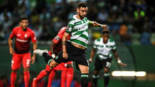 Sporting's Bruno Fernandes saw his post-match interview interrupted. AFP