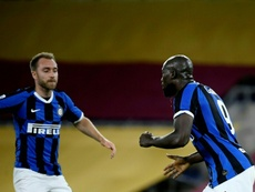 Romelu Lukaku (R) scored twice in Inter's 0-3 win at Genoa. AFP