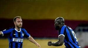 Romelu Lukaku (R) scored twice in Inter's 0-3 win at Genoa. AFP