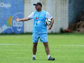 The recently resigned coach of Guatemalas national team, Argentine Ivan Franco Sopegno, gives instructions to his players during a training session in Guatemala City on June 10, 2015