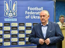Ukraines national football team head coach Mykhaylo Fomenko arrives for a press conference in Kiev on May 19, 2016