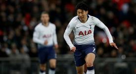 Son, con el Tottenham a la espalda. AFP