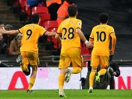 Wolves celebrate Raul Jimenez's goal against Tottenham at Wembley. AFP