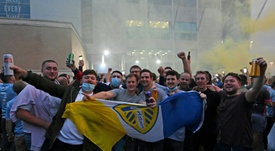 Leeds fans gathered outside the stadium. AFP