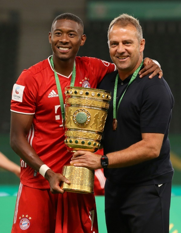 David Alaba and head coach Hansi Flick. AFP