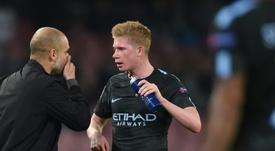 Guardiola estará sancionado y De Bruyne, lesionado. AFP