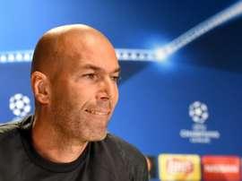 Zidane addresses a press conference at the Legia Warszawa stadium in Warsaw. AFP