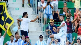 Pezzella got on the scoresheet as Argentina thrashed Ecuador. AFP