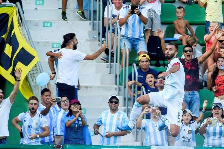 Pezzella got on the scoresheet as Argentina thrashed Ecuador. AFP
