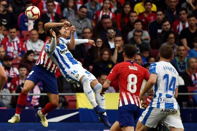 El Leganés criticó mucho el penalti señalado al Atleti. AFP
