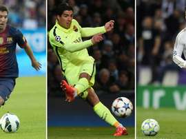 A combination of file pictures made on August 12, 2015 shows (L-R) Barcelonas Lionel Messi, Barcelonas Luis Suarez and Real Madrids Cristiano Ronaldo