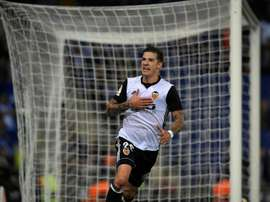 Santi Mina scored Valencia's second of the game. AFP