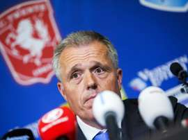 Chairman of FC Twente Onno Jacobs, pictured on May 18, 2016, speaks during a press conference after his team was demoted from the Eredivisie (premier league) to the first division by the the Royal Dutch Football Association (KNVB)