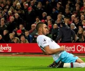 Dimitri Payet célèbre un but en Premier League contre Liverpool. AFP