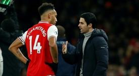 Aubameyang renovó con el Arsenal hasta 2023. AFP